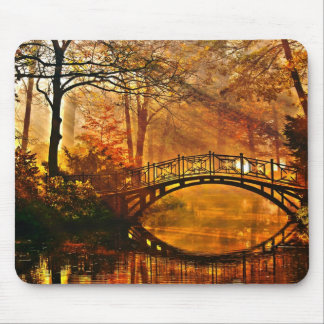 Autumn - Old bridge in autumn misty park Mouse Pad