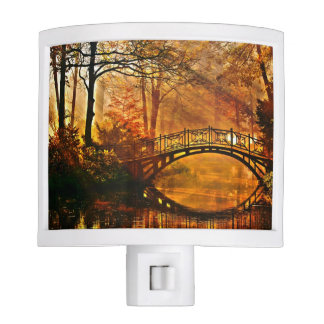 Autumn - Old bridge in autumn misty park Night Light