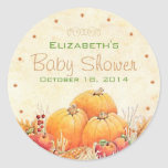 Autumn or Fall Baby Shower Guest Favor Classic Round Sticker
