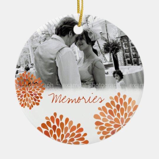 Autumn Orange Bloom Bursts Wedding Ornament
