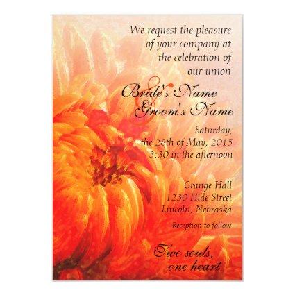 Autumn Orange Chrysanthemum Wedding Invite