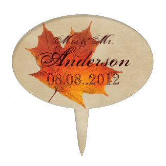 Autumn Orange Fall in Love Leaves Wedding Cake Topper