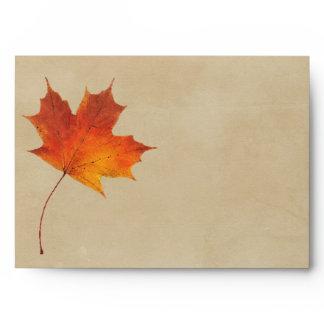 Autumn Orange Fall in Love Leaves Wedding Envelope