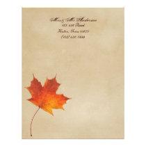 Autumn Orange Fall in Love Leaves Wedding Letterhead