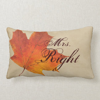 Autumn Orange Fall in Love Leaves Wedding Lumbar Pillow