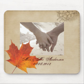 Autumn Orange Fall in Love Leaves Wedding Mouse Pad