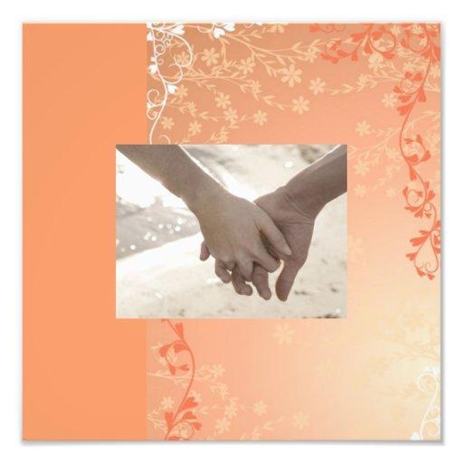 Autumn Orange Fall in Love Leaves Wedding Photo Print