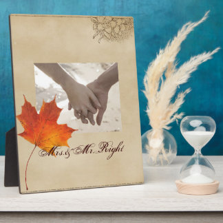 Autumn Orange Fall in Love Leaves Wedding Plaque
