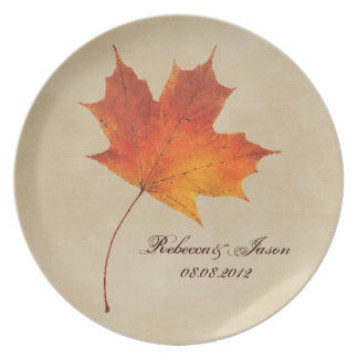 Autumn Orange Fall in Love Leaves Wedding Plate