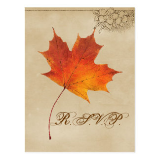 Autumn Orange Fall in Love Leaves Wedding RSVP Postcard