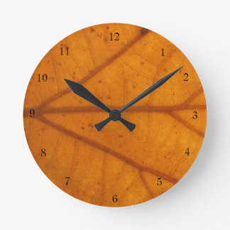 Autumn Orange Fall Leaf Wall Clock