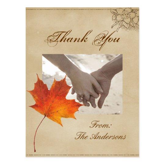 Autumn Orange Fall Leaves Wedding thank you Postcard
