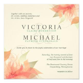 Attractive Autumn Orange Floral Square Wedding Invitations