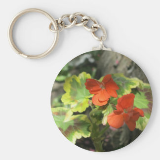 Autumn Orange Geraniums Key Chain