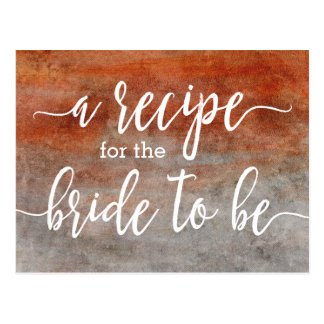 Autumn Orange Gray Watercolor Bride Recipe Card