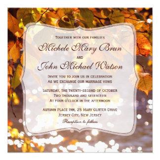 Autumn Orange Leaves Wedding Invitation
