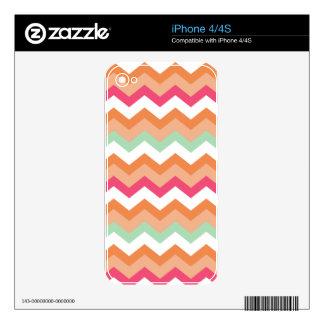 Autumn Orange Mixed Zigzag iPhone 4S Skin