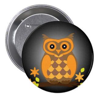 Autumn Orange Owl 3 Inch Round Button