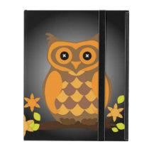 Autumn Orange Owl iPad Folio Case