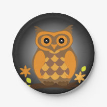 Autumn Orange Owl Paper Plate