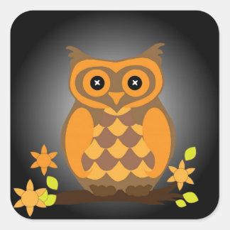 Autumn Orange Owl Square Sticker