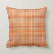Autumn Orange Plaid Pattern Throw Pillow