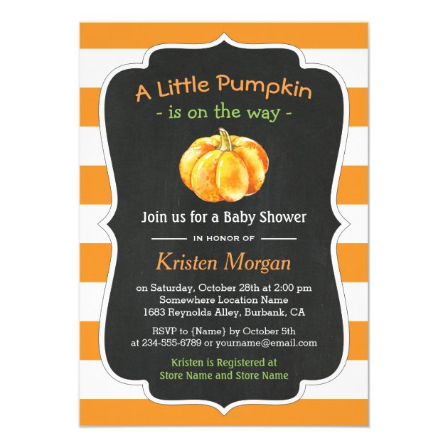 Autumn Orange Pumpkin Fall Baby Shower Card