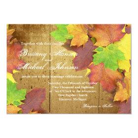 Autumn Orange Red Leaves Fall Wedding Invitation