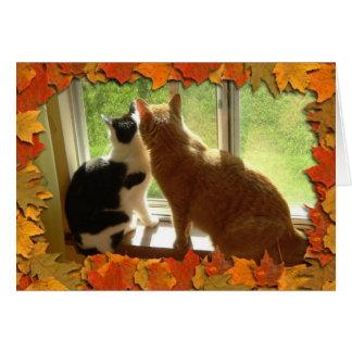 Autumn Orange Tabby Cats Greeting Card