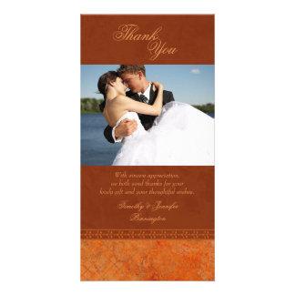 Autumn orange vintage elegant wedding thank you card