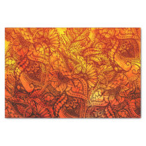 Autumn orange watercolor hand drawn floral pattern tissue paper