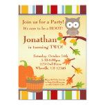 "Autumn Owl and Pumpkin Birthday Party Invitation 5"" X 7"" Invitation Card"