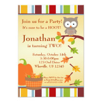 Autumn Owl and Pumpkin Birthday Party Invitation