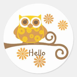 Autumn Owl Classic Round Sticker