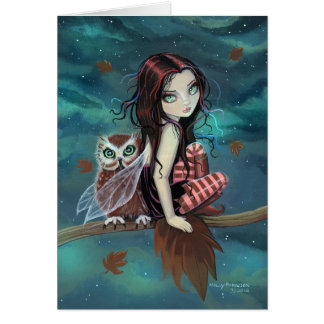 Autumn Owl Cute Gothic Faerie and Owl Art Greeting Card