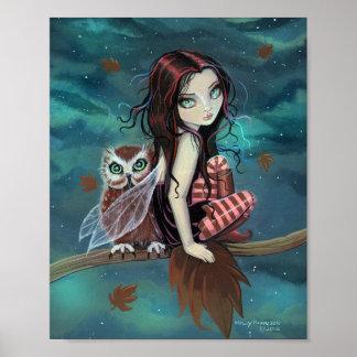 Autumn Owl Cute Gothic Fairy Fantasy Art Print