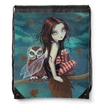 Autumn Owl Fairy Fantasy Art Drawstring Backpack