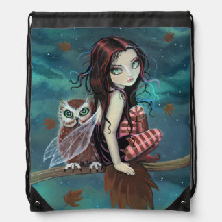 Autumn Owl Fairy Fantasy Art Drawstring Backpack