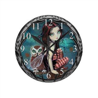 Autumn Owl Fairy Fantasy Art Wall Clock