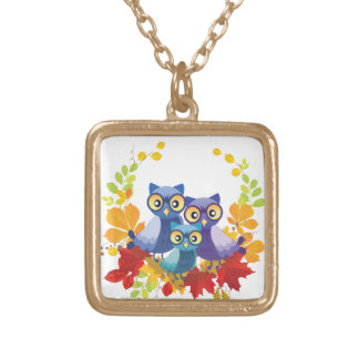 Autumn Owl family Gold Plated Necklace