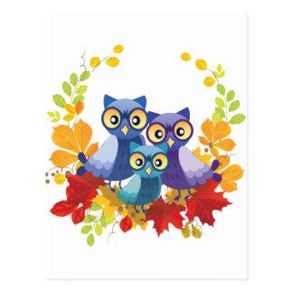 Autumn Owl family Postcard