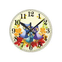 Autumn Owl family Round Clock