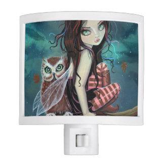 Autumn Owl Fantasy Fairy and Owl Art Night Light