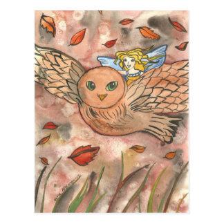 Autumn Owl Flight Postcard