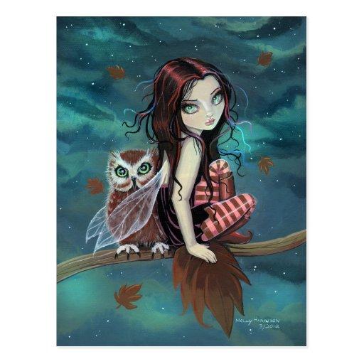 Autumn Owl Gothic Fantasy Fairy And Postcard Zazzle