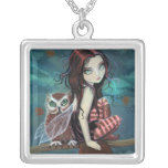 Autumn Owl Gothic Fantasy Fairy Art Necklace