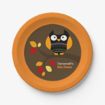 Autumn Owl Halloween Custom Paper Plate
