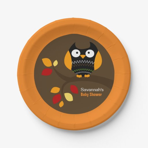 Autumn Owl Halloween Custom Paper Plate