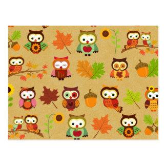 Autumn Owl Pattern Postcard