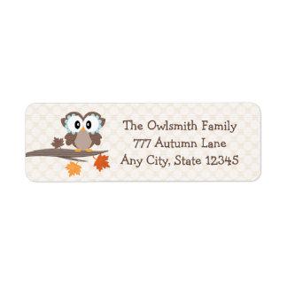 Autumn Owl Return Address Labels